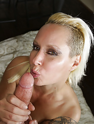 Fair-haired operation mommy gave Joey blow-out handjob